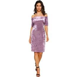 e3712c5a5d098 Vestido de terciopelo de las mujeres atractivas del hombro Slash cuello del  partido del club nocturno de la envoltura del bodycon elegante vestido  púrpura ...