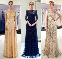 sheer sexy women pictures Coupons - Luxury Beaded Crystals Champagne Gold Evening Dresses Formal 2019 Mermaid Sheer Crew Neck 3 4 Sleeves Women Vestidos Prom Party Gown CPS1181