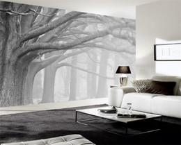 mural branco Desconto 3d papel de parede sala de estar quarto murais moderno preto e branco floresta árvore arte murais de parede TV papel de parede para paredes 3 d