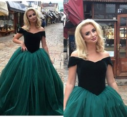 721c567617 Off-Shoulder Prom Dresses Dark Green Top Velvet Tulle Vestidos Ball Gown Formal  Evening Pageant Party Dresses velvet top prom dresses on sale