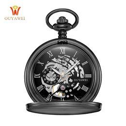 Wholesale Vintage Silver Pocket Watch Chain - Wholesale-Steampunk Mechanical Pocket Watch Chain Men Vintage Bracelet Watch Skeleton Male Clock Transparent Black Retro Watches