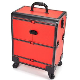 Wholesale plastic tool trolley - Large Size Aluminum Alloy Cosmetic Organizer Multi-layer Beauty & Makeup Storage Trolley Cosmetic Case Travel Toiletry Trunk