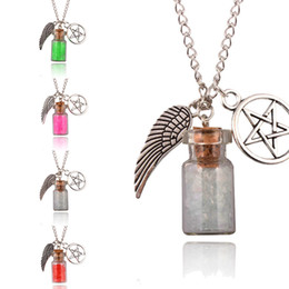 Wholesale protection necklaces - Hot Women Retro Handmade Angel Wing Pentagram Glass Wishing Bottle Pendant Supernatural Protection Chain Necklace 7 Styles