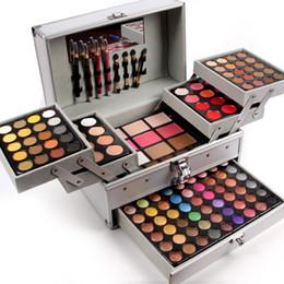 Glitter erröten make up online-Großhandel-Miss Rose professionelle Make-up-Set-Box aus Aluminium drei Schichten Glitzer Lidschatten Lipgloss erröten für Make-up Train Cases