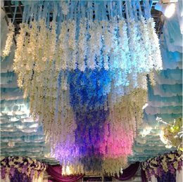 Wholesale white wall 14 - Elegant Artificial Hydangea Silk Flower Vine Home Wall Hanging Wisteria Garland 14 colors Available For Wedding Xmas Decoration