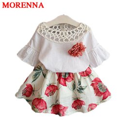 Wholesale Simple Summer Flower Girl Dresses - MORENNA Girls Clothing Sets Kids Clithes 2018 Summer Fashion New Baby Wear Flower Tops + Dresses Children Simple Suits Clothes