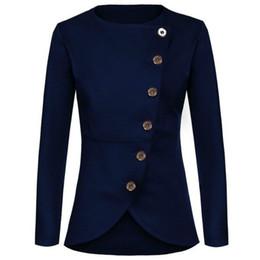 Wholesale Women S Coat Buttons - Wholesale-2017 autumn women's round neck long sleeve suit Slim thin coat blazer feminino women blazers and jackets blazer women A732