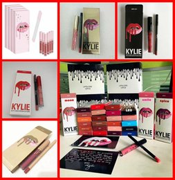 Wholesale Cosmetic M - NEWEST Kylie Lipgloss Lipstick Kylie Jenner Cosmetics lip Kit Lip gloss+Lip liner Liquid Matte Lip stick Red Velvet M