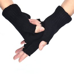 Car-styling Men Black Knitted Stretch Elastic Warm Half Finger Fingerless Gloves Home Cycling Motorcycle gloves 2018#22 от