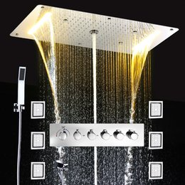 Wholesale power install - Embed Ceiling Rainfall Showers Set Massage Spray Led Electric Power Bathroom 5 Way Conceal Install Thermostatic Shower Faucets