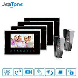 cámara de video sin cables Rebajas JeaTone 7 pulgadas con cable de video de la puerta del teléfono Video intercomunicador con manos libres sistema de intercomunicación con impermeable al aire libre IR Night Camera