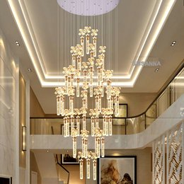 Wholesale Vintage Bubble Lamp - LED Modern Crystal Chandeliers American Bubble K9 Crystal Chandelier Lights Fixture Big Long Stair Hanging Lamps Home Indoor Lighting