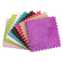 Wholesale Eva Puzzle Carpet - Wholesale-9-tile baby EVA Foam Shaggy Play Puzzle Mat Soft Interlocking Exercise Tiles Floor Fluffy Carpet Silky Smooth Rug for Kids