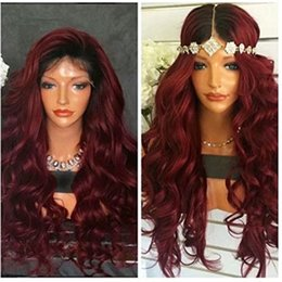Wholesale Long Dark Red Wavy Wig - Two Tone Ombre Burgundy Full Lace Human Hair Wigs T1b 99j Loose Wavy Peruvian Virgin Hair Wine Red 150% Density Lace Front Wigs