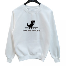 f0230f9be2c La MaxPa Pixel Dinosaur Sweatshirts Cute Printed Casual Hoodies Crewneck  Fashion Pullovers Plus Size Casual Cotton Thicken