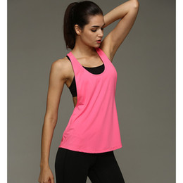 Wholesale Womens Sexy Backless Shirts - New Womens Sleeveless Vest Dry Quick Loose Backless Top Singlet Solid Color Fashion T-shirt Summer Sexy Women Tank Tops 7 Colors