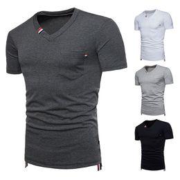 Wholesale Mens Black Pocket T Shirts - T-shirts Summer Mens Shorts Sale Solid Color Short Sleeve New Tee Shirt V-Neck Fashion t shirts Casual Shirt Clothes Man Pocket Top Tees
