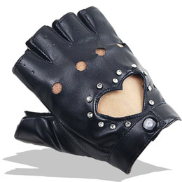 white leather gloves half Promo Codes - Women Sexy PU Leather Gloves Female Night Club Rivets Punk Rock Show Half finger Fitness Street Dance Thin Heart Gloves A80