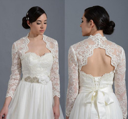 Wholesale Keyhole Bridal Jacket - 2018 vintage lace applique Long Sleeves Lace Bolero with Keyhole Back Bridal Jacket for Brides Wedding Wraps