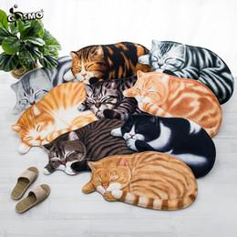 Wholesale Red Carpet Entrance - Sleeping Cat shape Entrance Doormats Door Mat 3D Printed Carpet Living Room Bedroom Anti-slip Floor Mats Kitchen Rugs 44*82cm 63*12cm