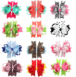 Wholesale Leopard Baby Hair Bow - 12Pcs 5 Inch Girls Dot Leopard Print Layered Ribbon Bows Hairpin Baby Girls Handmade Boutique Hair Clip Beautiful HuiLin DW86