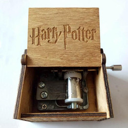 Wholesale gift boxes for birthday party - Tiny Music Box for Harry Potter Fans Engraved Wooden Hand-cranked Toys Gifts Harry Potter Wooden Music Box Party Favor CCA10092 20pcs