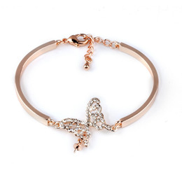 Wholesale White Gold Butterfly Bracelet - Diamond love Bracelet Wholesale 2018 butterfly hollow-out Pearl Bangle Empty tower Gold plate Bracelet For women fashion jewelry accessories