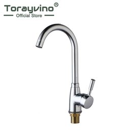 Grifos de cocina de lujo online-Torayvino Luxury Kitchen Sink New Kitchen Faucet Deck Mounted Chrome Polished Basin Faucet Hot And Cold Water Swivel Mixer Tap