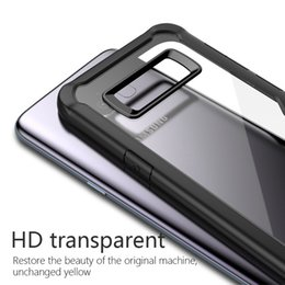 Wholesale Galaxy Goophone - Greaseproof Super Clear HD Transparent TPU Cover Case with Flexibility PC Frame Anti-Fingerprints for Samsung Galaxy S8 S8+ Plus Goophone