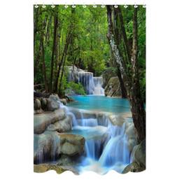 Schermi bagno online-Tenda da bagno impermeabile da 72 pollici Tende da bagno impermeabili Tessuto in poliestere Cascate Natura Paesaggio Tenda da bagno con 12 ganci