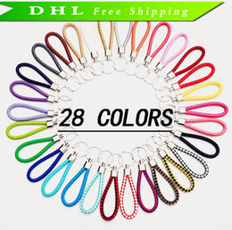Wholesale Valentines Man - Leather Rope Key Chain Car Pendant Weave Key Ring Men And Women Key Chain Valentine Day Gifts Wholesale