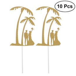 10 Unids Glitter Toothpick Toppers Torta Y Cupcake Toothpick Toppers Diseño de La Palma de Coco Decoración de La Torta Para El Partido de Postre desde fabricantes