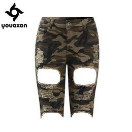 Wholesale Women Camo Pants Skinny - 2106 Youaxon Camo Torn Bermuda Shorts Woman Mid Waist Stretchy Distressed Denim Camouflage Knee Length Shorts For Women
