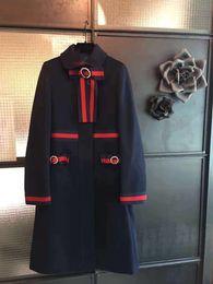 Casaco comprido de caxemira on-line-2017 runway designer das mulheres inverno cashmere longo casaco de luxo bowtie de cristal jaqueta de lã fino casaco da marinha do vintage com web S ~ 10XL