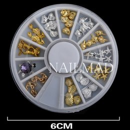 Wholesale Acrylic Set For Nails - 36pcs set Metal Sea Horse Shell Nail Studs Gold Silver Starfish 3D Nail Art Decoration for UV Acrylic Nail Accessories In Wheel