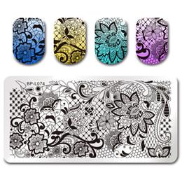 Immagini nette online-NATO ABBASTANZA Pizzo Vine Net Nail Stamping Piastra Modello Immagine di DIY Modello di Stampa Manicure Stamping Piatto Stencil Strumento BP-L074