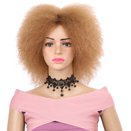 Donne di parrucche nere di alta qualità online-Parrucche Afro ricci economici di alta qualità 27 # / Nero / 99J parrucche ricci corti ricci Parrucche sintetiche resistenti al calore per le donne nere