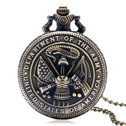 Wholesale Chain Watches For Men - Retro United States Department of The Army Theme Quart Pocket Watch Men Necklace Chain Gift For Women