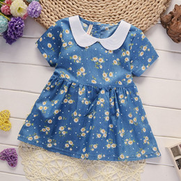 Wholesale girls new years dress - 2018 New Fashion Brand Girls 0-4 Years Summer Floral Jeans Dress Baby Pure Cotton Short-Sleeved Denim Children Big Bow Casual