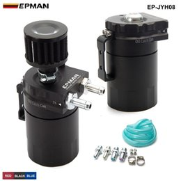 Wholesale Breather Catch Tank - EPMAN -NEW Universal Aluminum Oil Catch Tank Cylinder Catch Reservoir Car Can Breather Kit+ Breather Filter EP-JYH08