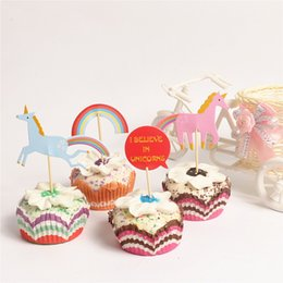 Wholesale Cupcakes Party Favors - 24pcs lot Cute Unicorn Cupcake Toppers Rainbow Picks Decoration For Kids Birthday Party Favors Wedding Supplies