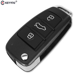 audi folding key Coupons - for KEYYOU Replacement Folding Flip Remote Car Key Shell 3 Button Case For AUDI No Blade
