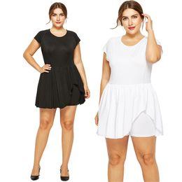 342cd128838 black white plus size jumpsuit NZ - Stretch Plus Size Summer 2018 Women  Jumpsuits Short Sleeve