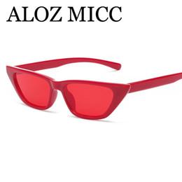 ALOZ MICC 2018 Moda Cat Eye Óculos De Sol Das Mulheres Do Vintage Pequeno Quadro  Vermelho Rosa Preto Óculos de Sol Das Mulheres UV400 oculos A522 a3d71c201b