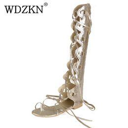 WDZKN nouvelle mode femmes or argent sangles croisées à talon plat genou haute gladiateur sandales sandalia glaplus taille 34-43 ? partir de fabricateur