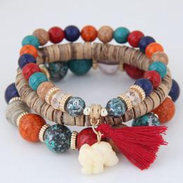 Wholesale White Resin Elephants - Europe The United States Popular Wind Bohemian Beaded Elephant Fringed Beads Bracelet