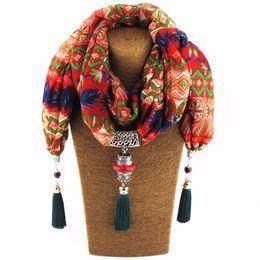 Wholesale Choker Scarf Necklace - whole sale2017 New Fashion Ethnic Chiffon Silk Scarf Necklaces Buddha Beads Collar Choker Maxi Necklace For Women Boho Style jewelry