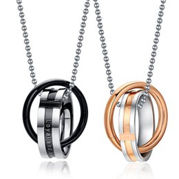 Wholesale Necklace Rose Gold Couple - Endless Love Couple Necklace Pendant Stainless Steel Rose Gold Black Loyal and Steadfast Pendant Necklaces Double Loop Couples For Wedding