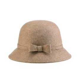 Full Wool Felt Cloche Hat Woman autumn winter Bowknots hats Vogue  Bell-shape ladies hat Professional Hat Wholesaler Nice Gift for Lady 1444e05ef765