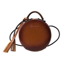 Wholesale korean bags black tote - New Arrival Brand Designer Women Leather Tassel Mini Round Handbags Korean Style Shoulder Bags Crossbody Bags bolsa redonda